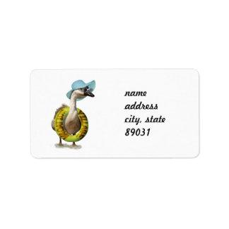 Beach Goose  with Summer Hat & Sunglasses Address Label