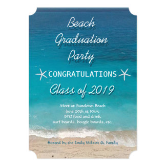 Beach Graduation Party for Class 5x7 Paper Invitation Card