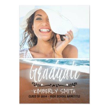 Beach Themed Beach Graduation Party Photo Card