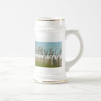 Beach Grass and Ocean Waves Beer Stein