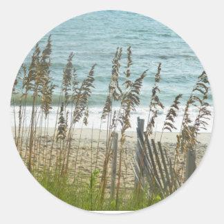 Beach Grass and Ocean Waves Classic Round Sticker
