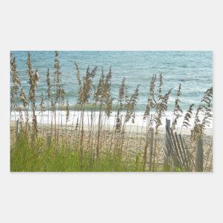 Beach Grass and Ocean Waves Rectangular Sticker
