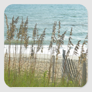 Beach Grass and Ocean Waves Square Sticker