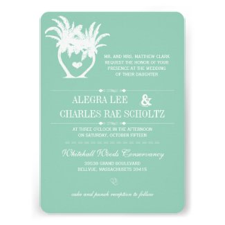 Beach Grayed Jade Palm Tree Destination Chalkboard Personalized Invite