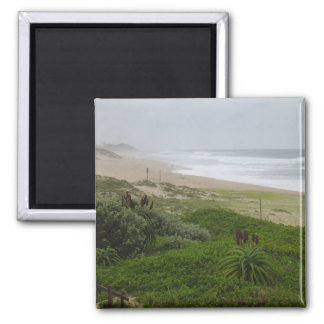 Beach Greenery 2 Inch Square Magnet