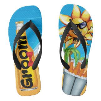 Beach Groom Honeymoon Flip Flops