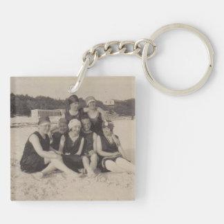 Beach Group 1920 Vintage Photograph Keychain
