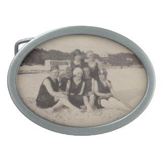 Beach Group 1920 Vintage Photograph Oval Belt Buckle