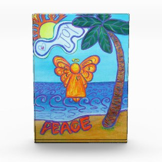 Beach Guardian Angel Art Custom Paperweight Acrylic Award