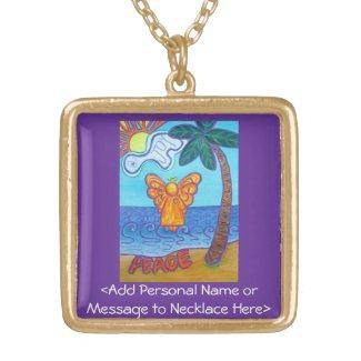 Beach Guardian Angel Art Necklace Pendant Jewelry