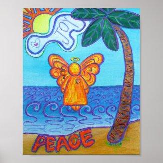 Beach Guardian Angel Custom Poster Art Prints