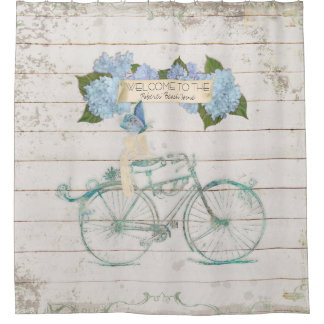 Beach Guest House Shiplap Wood Hydrangea Bicycle Shower Curtain