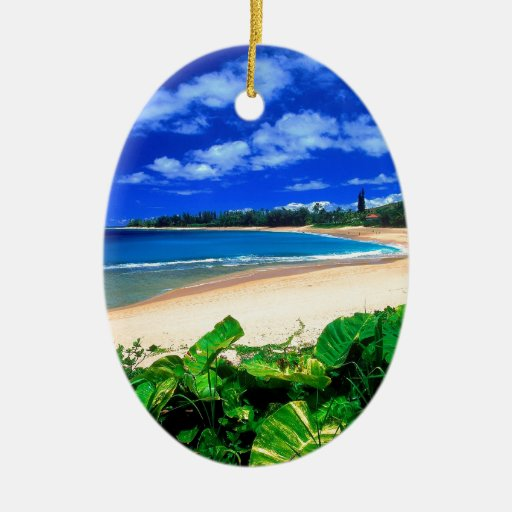 Beach Haena Kauai Hawaii Christmas Ornament