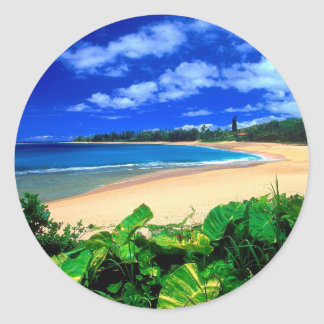 Beach Haena Kauai Hawaii Classic Round Sticker