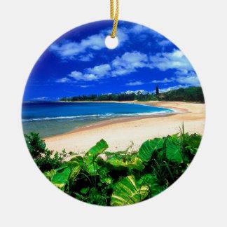 Beach Haena Kauai Hawaii Double-Sided Ceramic Round Christmas Ornament