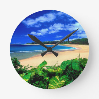 Beach Haena Kauai Hawaii Round Clock