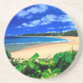 Beach Haena Kauai Hawaii Sandstone Coaster