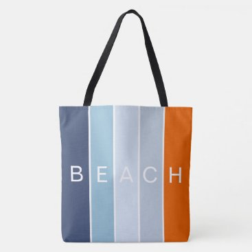 Beach Themed Beach happy cool blue and orange  modern stripes tote bag