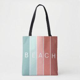 Beach happy cool blue modern stripes tote bag