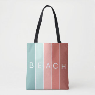 Beach happy cool blue modern stripes tote bag