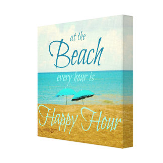 BEACH HAPPY HOUR SAYING CANVAS PRINTS