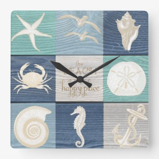 Beach Happy Place Blue Aqua Old Wood Sea Clock