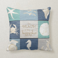 Beach Happy Place Blue Aqua Old Wood Sea Pillow