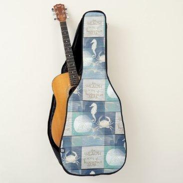 Beach Themed Beach Happy Place Blue Aqua Sea Guitar Case