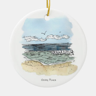Beach Happy Place Circle Ornament