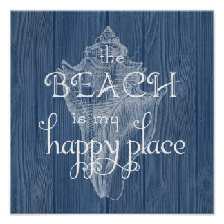 Beach Happy Place Seashell Blue Wood Poster