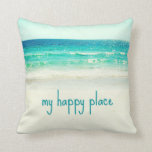 "Beach Happy Place Word Pillow<br><div class=""desc"">Is the beach your happy place? This ocean pillow design features a photograph that captures gorgeous blue ocean waters and a white sand beach. A dreamy pillow that declares your love for the beach and sea with the phrase: my happy place. Available in size 16 x 16 only. May all...</div>"