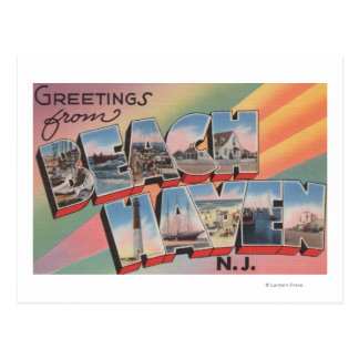 Beach Haven, New Jersey - Large Letter Scenes Postcard
