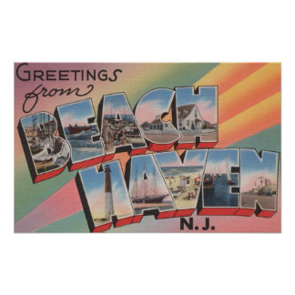 Beach Haven, New Jersey - Large Letter Scenes Poster