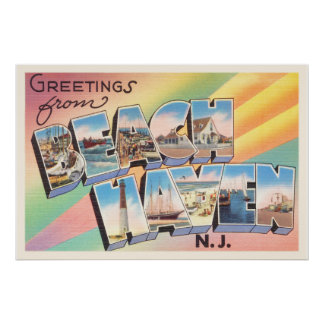 Beach Haven New Jersey NJ Vintage Travel Postcard- Poster