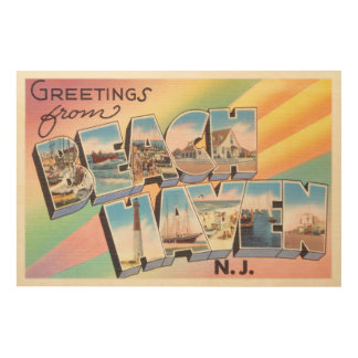 Beach Haven New Jersey NJ Vintage Travel Postcard- Wood Wall Art