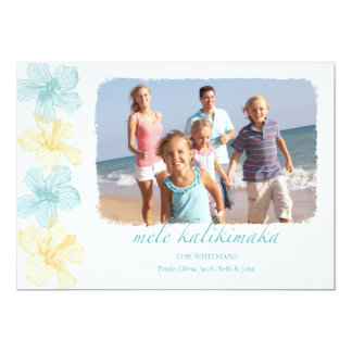 Beach Hawaiian Lei Christmas photo Cards