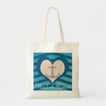 Valentines Themed Beach Heart & Anchor Maid of Honor Tote