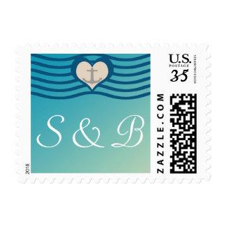 Beach Heart & Anchor Postcard Postage w/ Initials