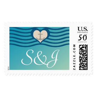 Beach Heart & Anchor Wedding Postage with Initials