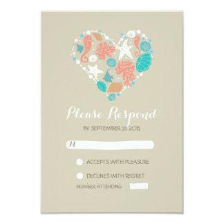 beach heart casual wedding RSVP cards