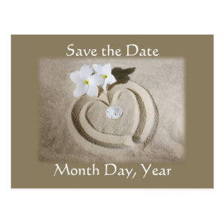 Beach Heart in Sand - Save the Date Wedding Postcard