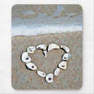 Beach Heart in Seashells Mouse Pad
