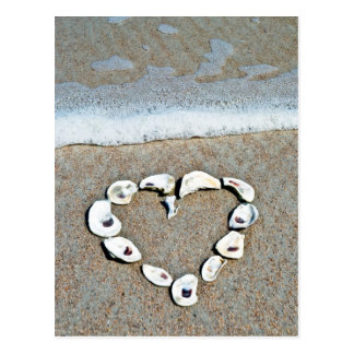 Beach Heart in Seashells Postcard