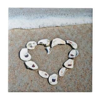 Beach Heart in Seashells Romantic Design Ceramic Tile
