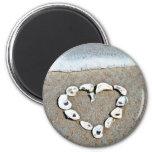 Beach Heart in Seashells Romantic Design Refrigerator Magnet