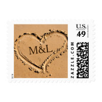 Beach Heart Love Wedding Monogram Stamp