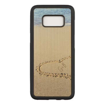 Beach Themed Beach Heart Monogram Personalized Carved Samsung Galaxy S8 Case