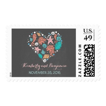Beach Themed Beach Heart Nautical Chalkboard Wedding Postage