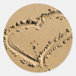 Beach Heart of Love Round Sticker