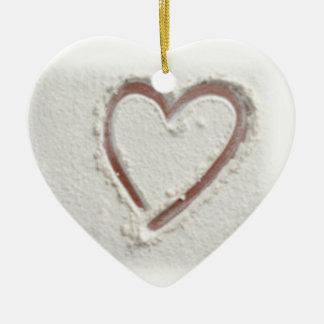 Beach Heart of Sand Wedding Ceramic Ornament